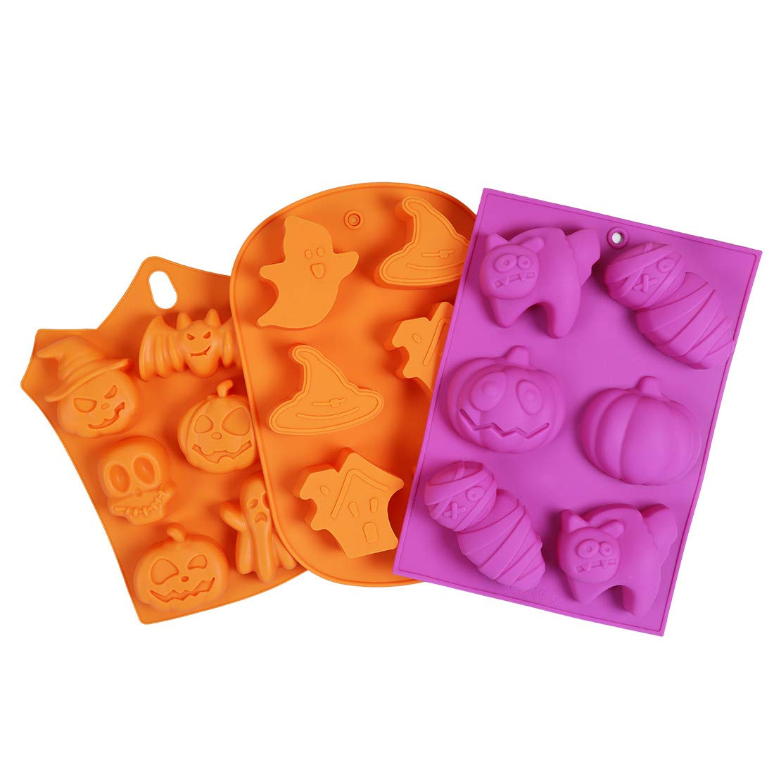 HomyPlaza Halloween silicone baking mold Muffin Mold with Pumpkin, Evil, Skull, Ghost - Perfect to Make Pudding, Ice Cube, Chocolate