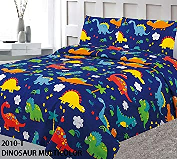 MB Collection Twin Size 2 Pieces Printed Multicolor Orange Navy Blue Dinosaur World Design Kids Bedspread/Coverlet Sets/Quilt Set# Twin Dinosaur Multicolor Quilt MB Home Linen