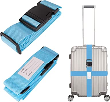 Luggage Straps Adjustable Suitcase Straps Belt Travel Packing Bag Accessories with Buckle Closure