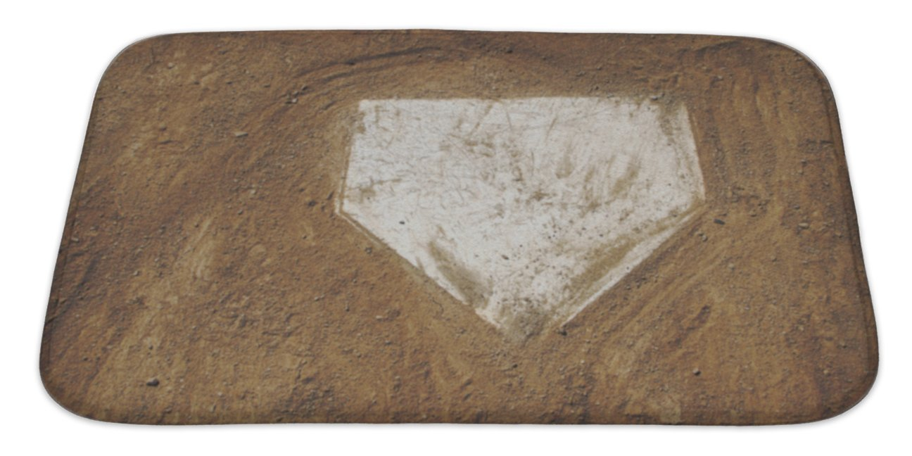 Gear New Home Plate Baseball Bath Mat, Microfiber, Foam With Non Skid Backing, 34''x21'', GN3597