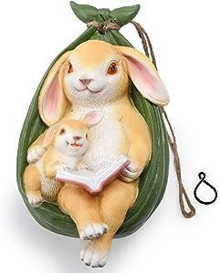 WONDHOME Rabbit Pendant Outdoor Decor Statue for Garden Patio Yard Lawn Home,Reading Mother-Child Bunny Ornaments,Cute Animal Decor,Art Decorations