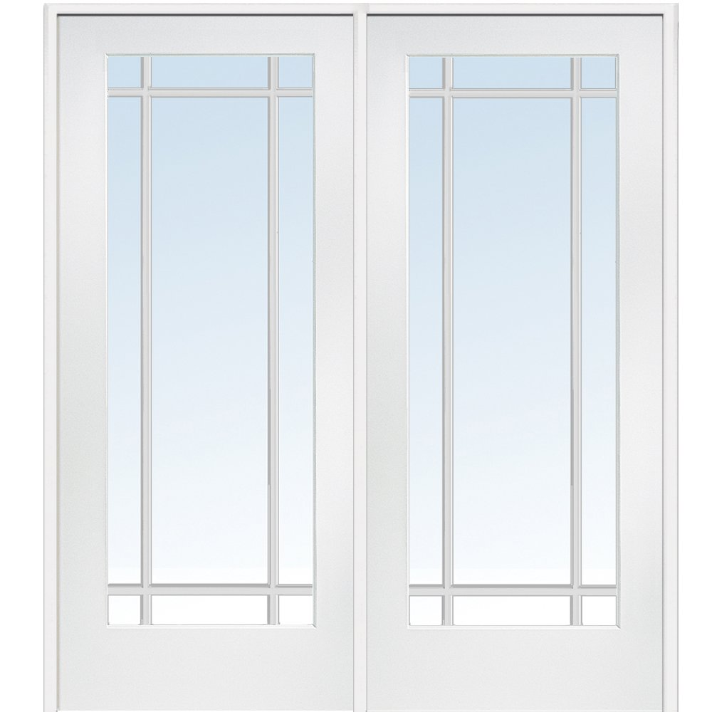 National Door Company Z009312R Primed MDF 9 Lite Clear Glass, Right Hand Prehung Interior Double Door, 60'' x 80''