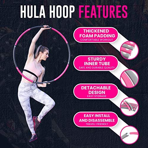 HULALAA Hula Hoops for Adults Weight Loss, Weighted Hula Hoop for Exercise and Fitness, 8 Sections Adjustable Weights, Weighted Hoola Hoop for Adults and Home Workout 3