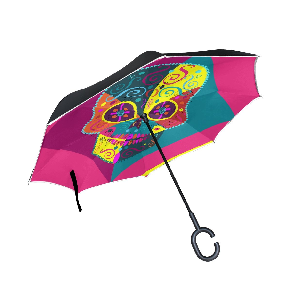 Yuihome Double Layer Reverse Folding Fun Colorful Skull Umbrella Windproof for Car Rain Outside with C-shapped Handle Automatic