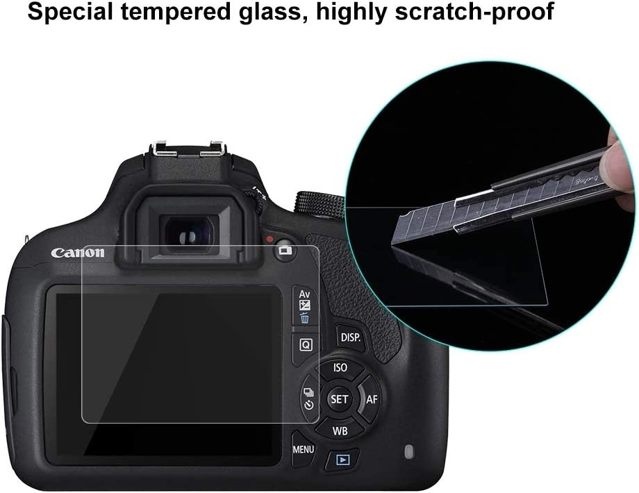 KISS X80 //1500D KISS X90 Durable KISS X70 JINGZ 2.5D 9H Tempered Glass Film for Canon 1200D Compatible with Canon 1100D // 1300D