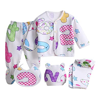 Value Pack Recién Nacido Bebé, LANSKIRT 14PCS Bebé Niña Niño Dibujos Animados Manga Larga Tops + Sombrero + Dos Pantalones + Conjunto de Traje Babero: ...