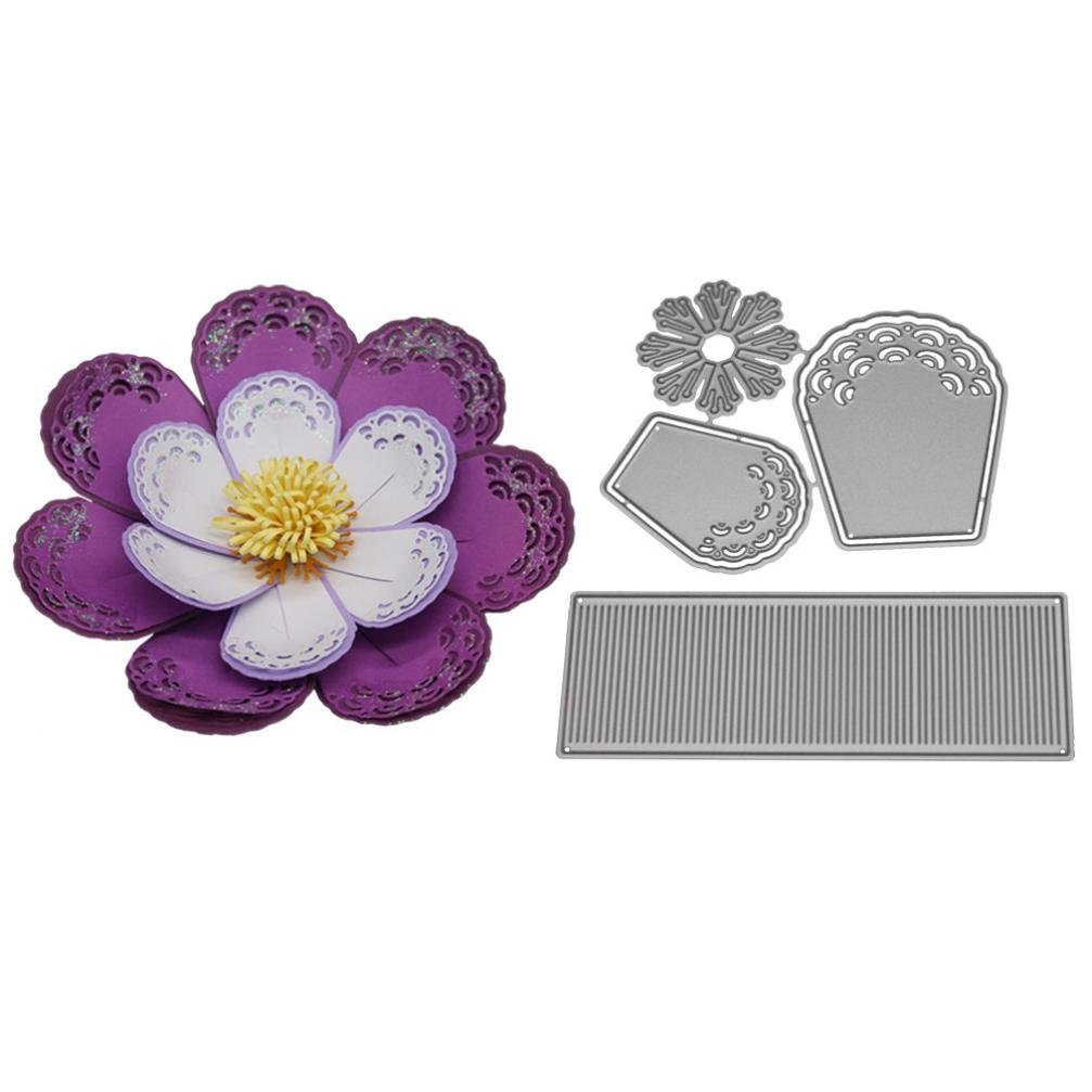 Covermason New Flower Heart Metal Cutting Dies Embossing Stencil Template for DIY Scrapbook Album Paper Card Craft Decoration (A) Cover mason