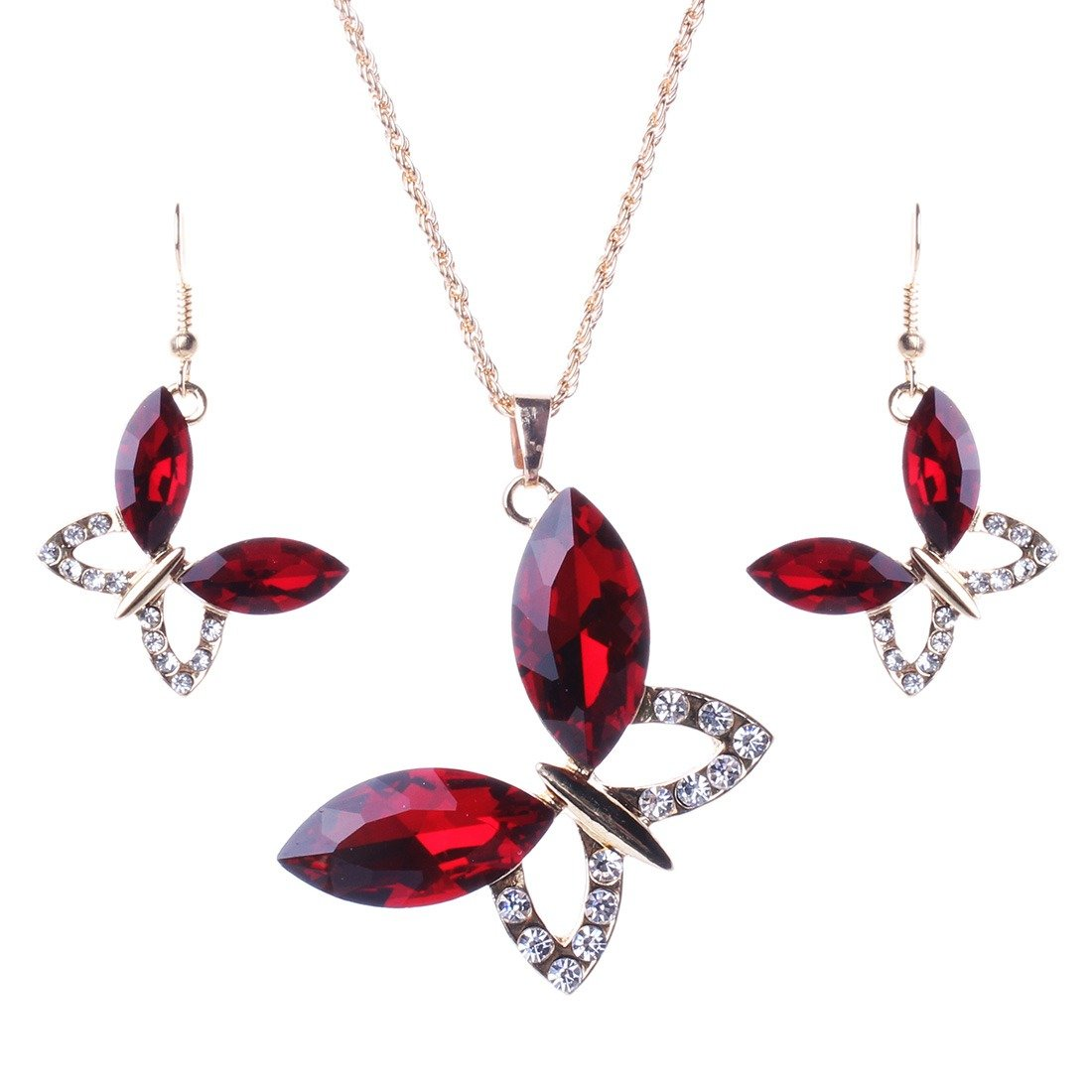 Qiyun Gold Chain Faceted Crystal Butterfly Pendant Long Necklace Earrings Set Or Cristal a Facettes Papillon Longue Collier W005N2297
