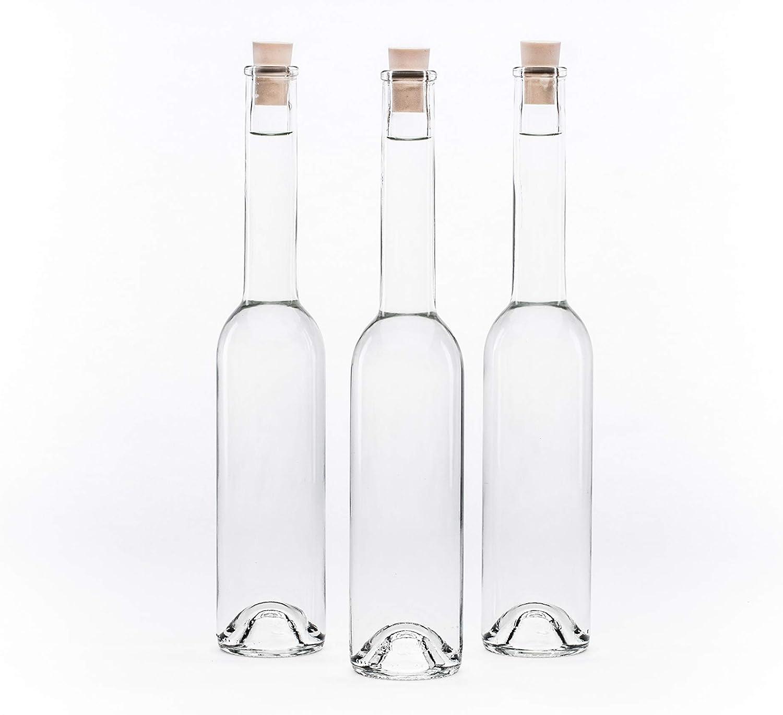 6 bottiglie di vetro quadrate da 25 cl altezza 15 cm tappo a cerniera 6,5 x 6,5 cm