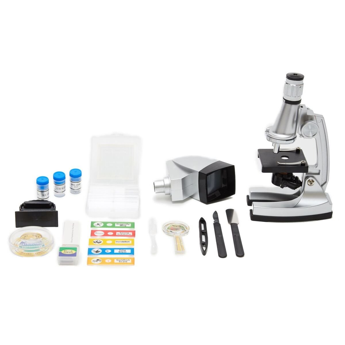 EB Trading LLC Microscope Kit with 6 Magnifications from 50x to 1200x, Includes 37 - Piece Accessory Set and Case, Best Top Pick of Microscopes For Beginners (5 Bonus Animal/Plant sides)