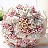 """Product review for Hestian 10"""" Luxury Handmade Romantic Silk Roses with Flower Shape Deluxe Diamonds, Pearls Chains and Lace Handle Rose Bridal Wedding Bouquet Silk Rose Hand Tie"""