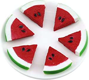 Gresorth 6pcs Highly Simulation Fruit Artificial Red Watermelon Slice Fake Fruits Model Photography Props