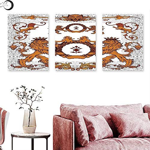 (J Chief Sky Medieval Wall hangings Heraldic Lions Antique Armor Victorian Vintage Old Symbols Sign Art Design Triptych Art White and Ginger Triptych Art Canvas W 16