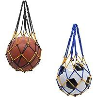 Zasiene Deportes Malla Bolso 2 Piezas Bolsa de Malla de Fútbol Bolsa de Malla Tejida a Mano Baloncesto Carry Net Bag…