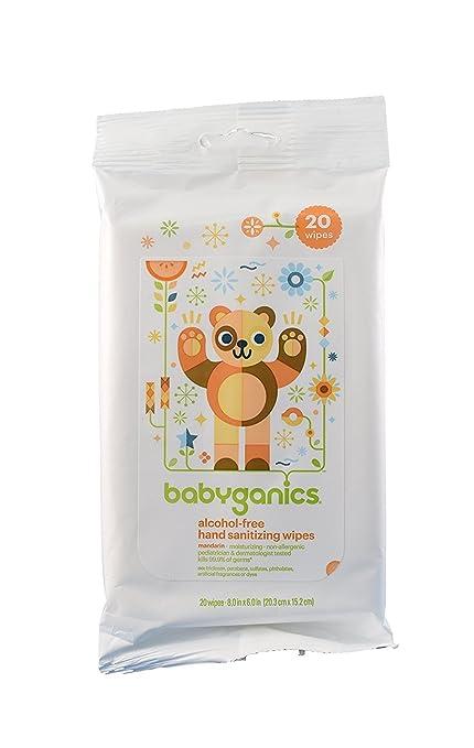 BabyGanics – sin alcohol mano sanitización toallitas – 20 toallitas – pack de 3