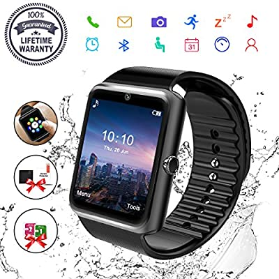 Smart Watch, Bluetooth Smart Watch for Android Phones Fitness Tracker Wrist Watch Waterproof with Camera SIM Card Slot Sports Smart Watch for Samsung Huawei Sony iOS iPhone for Men Women