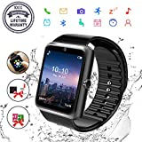 Smart Watch, Bluetooth Smart Watch for Android Phones Fitness Tracker Wrist Watch Waterproof with Camera SIM Card Slot Sports Smart Watch for Samsung Huawei Sony iOS iPhone for Men Women (GT08-Black)