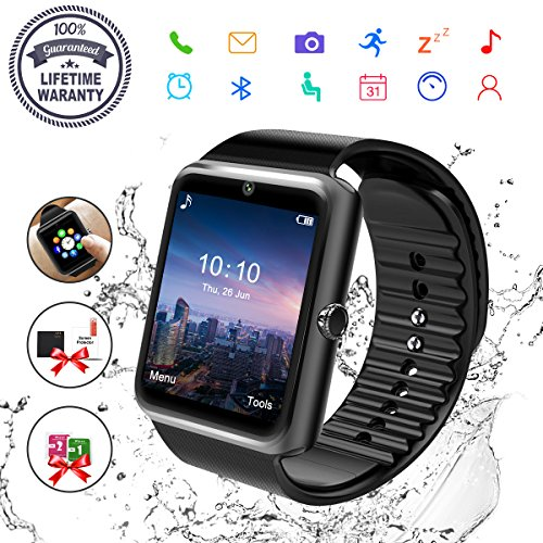 Smart Watch, Bluetooth Smart Watch for Android Phones Fitness Tracker Wrist Watch Waterproof with Camera SIM Card Slot Sports Smart Watch for Samsung Huawei Sony iOS iPhone for Men Women (GT08-Black) by JOYGIFT