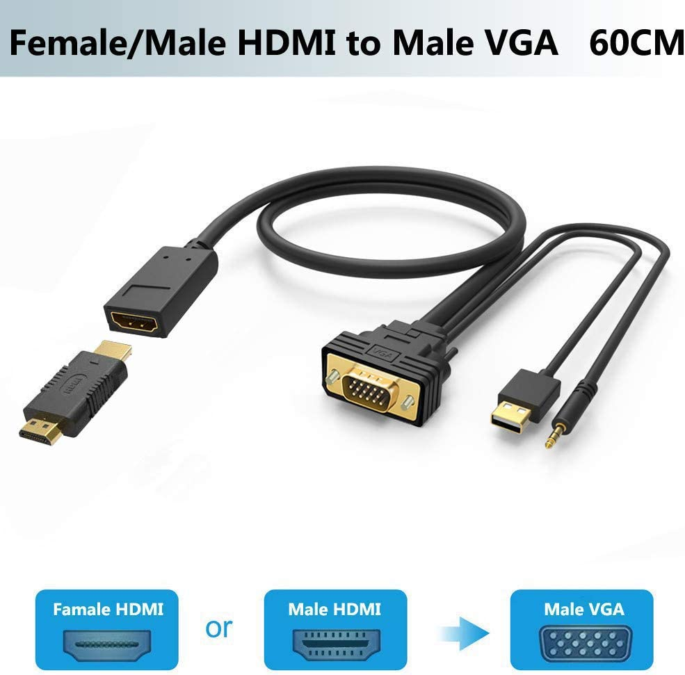 Monitor//TV//Projector//etc to VGA DVI VGA Display Adapter PC//Laptop Black Gold-Plated Active DVI to VGA Active Adapter//Converter for DVI J/&D DVI to VGA