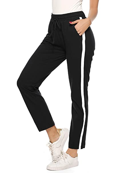official outlet biggest selection Aibrou Womens Jogger Pants 100% Cotton Tracksuit Bottoms Sweatpants  Drawstring Waist with Pockets for Running Workout Gym Yoga