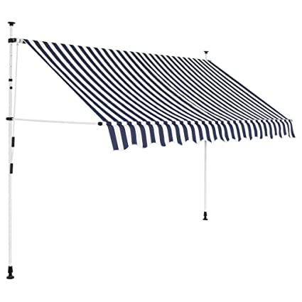 new concept 392bb 4d086 Tidyard Manual Retractable Sun Shade Patio Awning 118 Inches for Window  Terrace Balcony Garden Blue and White Stripes