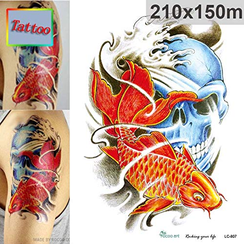 Temporary Tattoos - Temporary tattoos Waterproof tattoo stickers body art Painting for party event decoration red fish skull - by PPL21-1 -