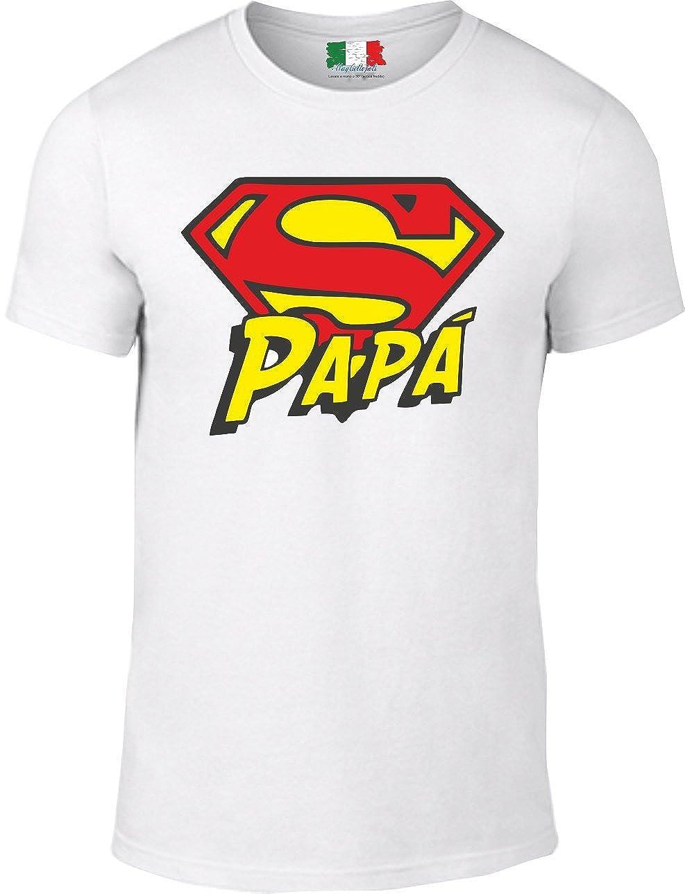 Maglietta Bianca 100/% Cotone Uomo Super pap/à
