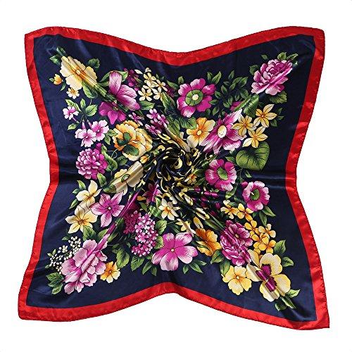 BEEYA Womens Vintage Elegant Pattern Large Silk Scarf for Hair Flower Print Square Neckerchief Headscarf 35x35 Inches(DarkBlue) ()