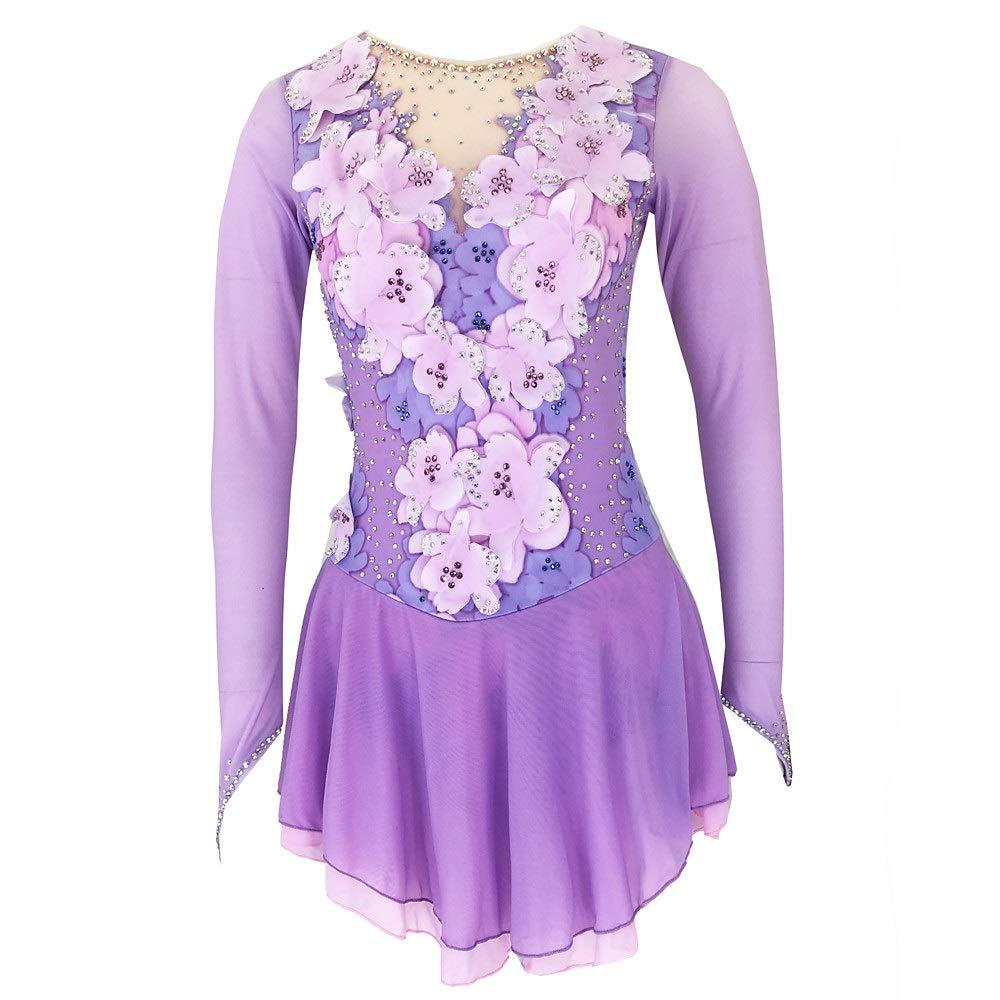 女の子のためのスケートドレス、女性のための手作りフィギュアスケート競技コスチューム長袖スケートドレスラインストーンアップリケパープル パープル L