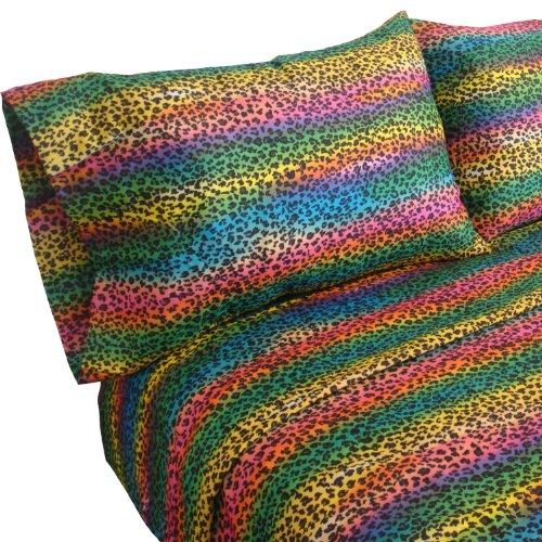 Street Revival Rainbow Leopard Twin Sheet Set, Multi