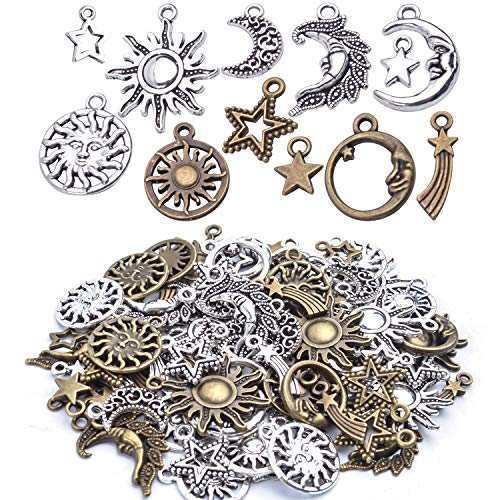 - About 80 Pieces Celestial Collection Charms, Mixed Sun Moon Star Meteor Charms Pendant Jewelry Findings for DIY Necklace Bracelet Earrings - Vintage Bronze and Silver Color