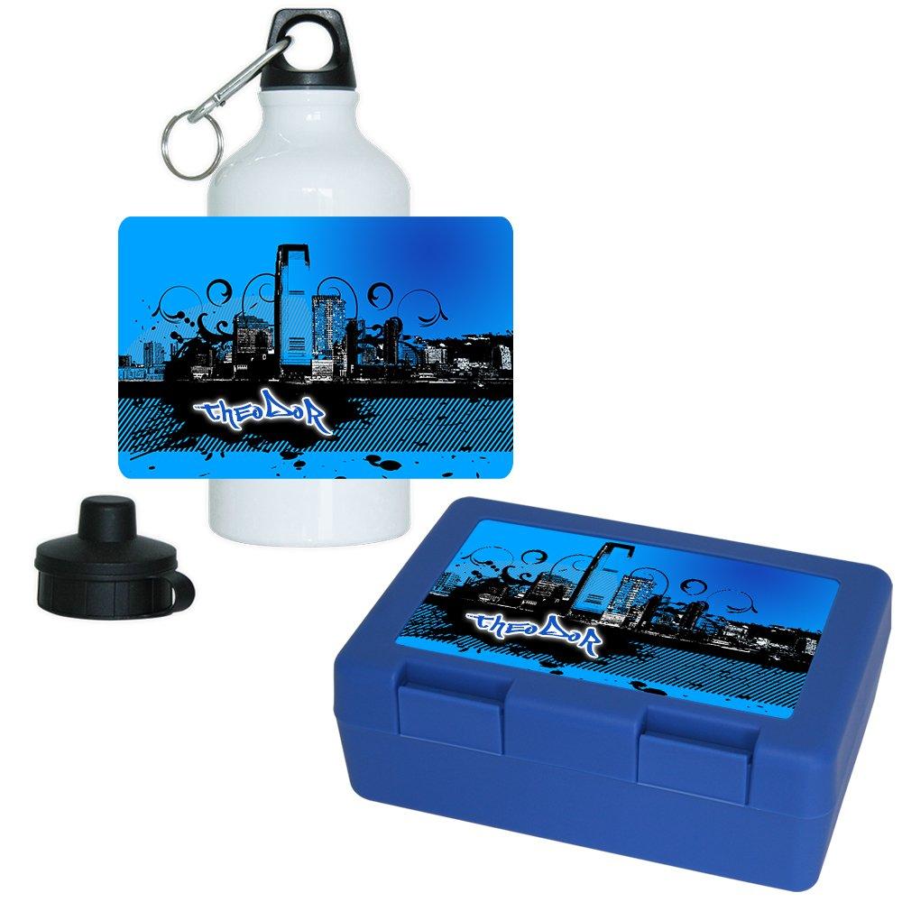 Brotdose + Trinkflasche Set mit Namen Theodor und schönem Motiv mit Stadt-Silhouette   Aluminium-Trinflasche   Lunchbox   Vesperbox