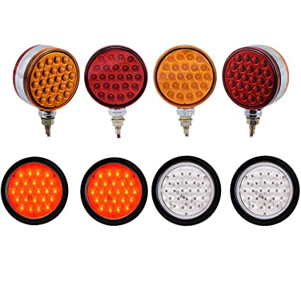 Amazon Com 4x Double Face Red Amber 48 Led Pedestal Lights And 4x