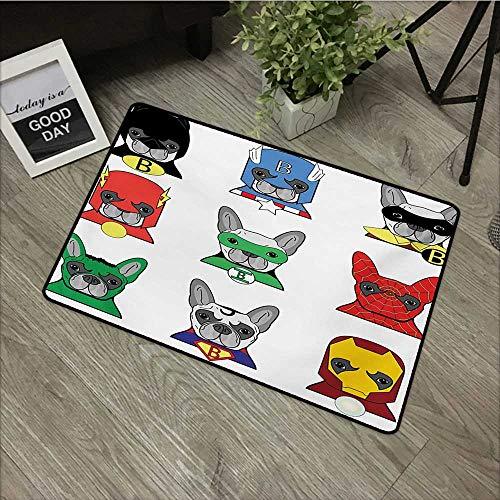 Anzhutwelve Superhero,Machine Washable Carpet Bulldog Superheroes Fun Cartoon Puppies in Disguise Costume Dogs with Masks Print W 31