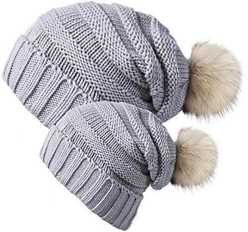 33ee3b3ee49 Chalier 2 Pack Winter Warm Knit Baggy Slouchy Pom Pom Beanie Hat for Mom    Baby