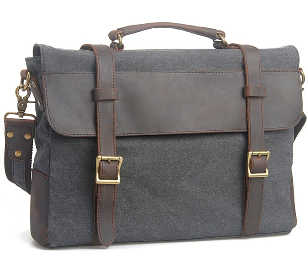 Bronze Times TM Retro Cotton Canvas and Leather Shoulder Messenger Bag Briefcase Fits 15 Laptop