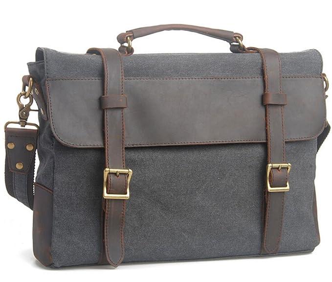 Canvas and Leather Shoulder Messenger Bag