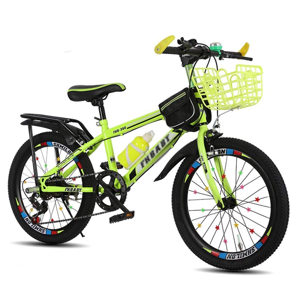 自転車子供/ 18インチ/ 20インチ/ 22インチ男の子女の子自転車 学生旅行用自転車 可変速調整自転車 515歳屋外子供用自転車 春夏旅行用自転車 (Color : Yellow, Size : 22inches) 22inches Yellow B07RM1VXL7