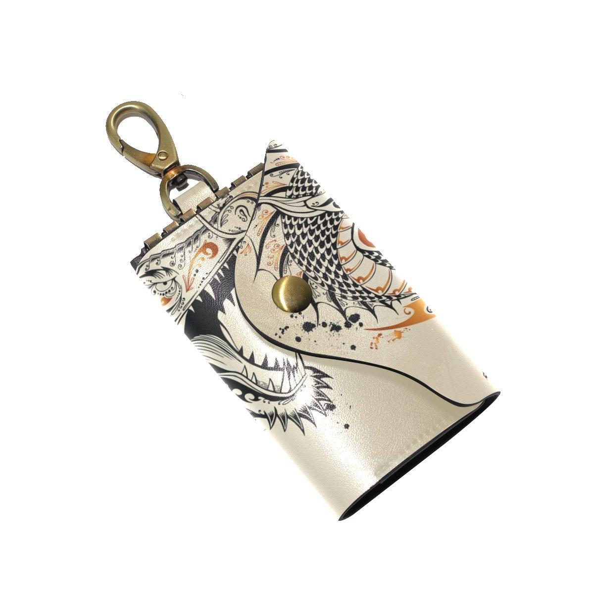 KEAKIA Dragon Doodle Sketch Leather Key Case Wallets Tri-fold Key Holder Keychains with 6 Hooks 2 Slot Snap Closure for Men Women