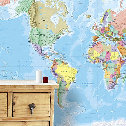 Maps International - Giant World Map Mural - Mega-Map Of The World Wallpaper - 91 x 62 - Blue Ocean