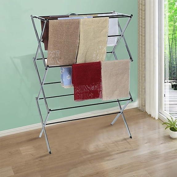 Amazon.com: Bseka - Estantería plegable para secar ropa, 3 ...