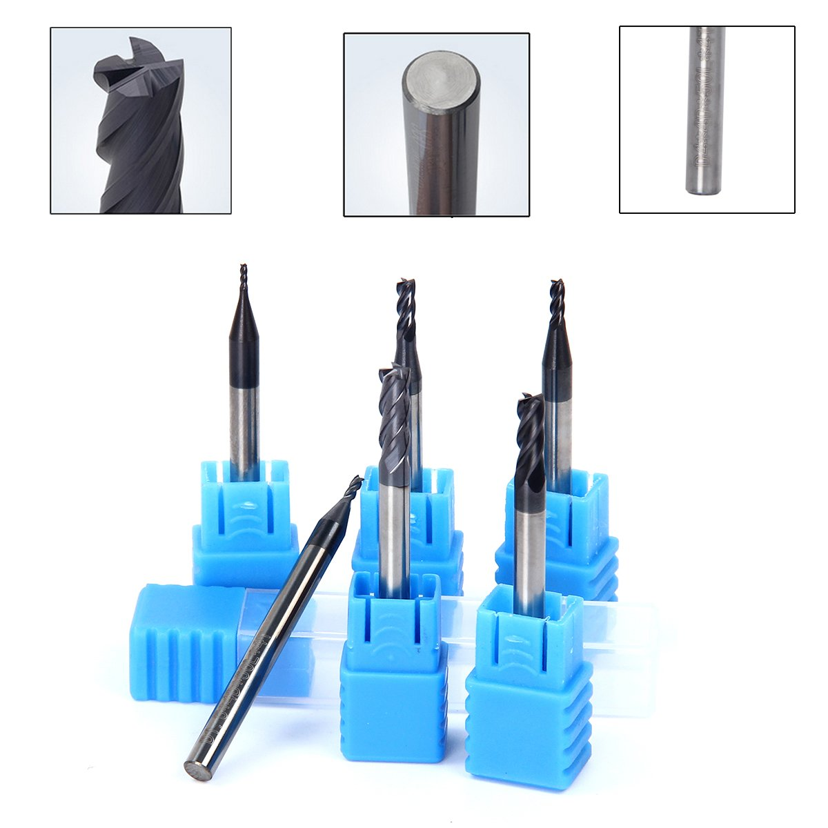 TargetEvo 6pcs 1mm 1.5mm 2mm 2.5mm 3.5mm 4mm CNC Lathe Milling Cutters End Mill Cutters Drill Bits Set 4 Flutes Tungsten Carbide Endmills for Wood Aluminum Steel Titanium