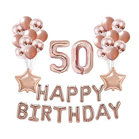 Amosfun 37 Unids Set de Globos de Cumpleaños 50 Años Cartas ...