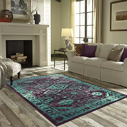 Area Rugs, Maples Rugs [Made in USA][Georgina] 7' x 10' Non Slip Padded Large Rug for Living Room, Bedroom, and Dining Room - Wineberry/Teal by Maples Rugs (Image #3)