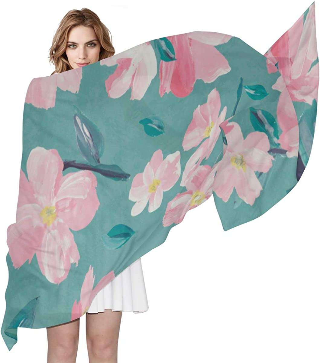 Beautiful Pink Cherry Blossoms Unique Fashion Scarf For Women Lightweight Fashion Fall Winter Print Scarves Shawl Wraps Gifts For Early Spring