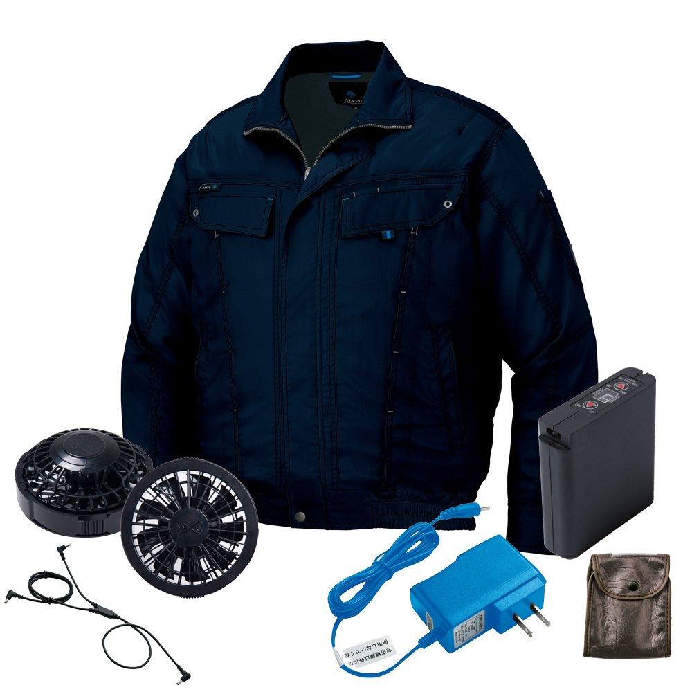 空調服 ブルゾン黒ファンバッテリーセット AZ-305992 アイトス B07D97RP54 M|18ネイビー 18ネイビー M
