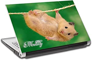 """Cute Hamster Personalized LAPTOP Skin Decal Vinyl Sticker ANY NAME Animals L664, 15.6"""""""