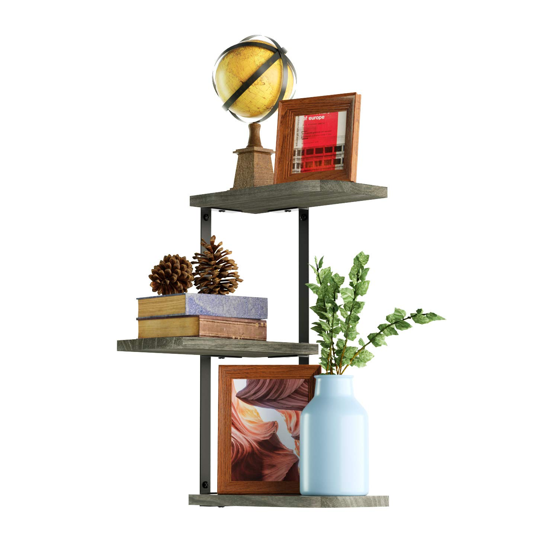 Love-KANKEI Corner Shelf Wall Mount of 3 Tier Rustic Wood Floating Shelves for Bedroom, Living Room, Bathroom, Kitchen, Office and More