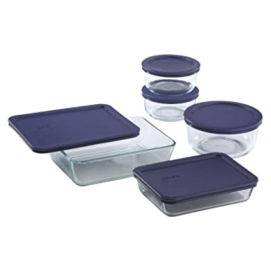Pyrex 1123265 Simply Store Glass Meal Prep Food Container, Set with Blue Lids (10-Piece)