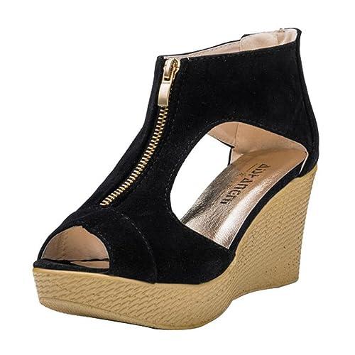 Womens Wedges Sandals - Fashion Summer Platform Sandals Chunky Heeled Pumps Shoes Zipper